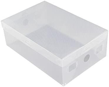 5 x claro zapato cajas de almacenamiento apilable de plástico plegable caja organizadora con tapa: Amazon.es: Hogar