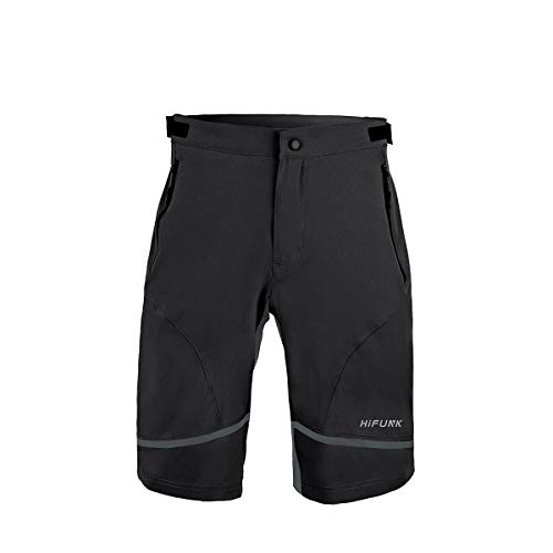 Hifunk Men's MTB Mountain Bike Cycling Shorts Loose-Fit Quick Dry Lightweight Baggy Bicycle Short Water-Resistant UPF 50+(Black,L)