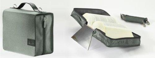 SchönfelderSkin, (Nylon-Leder) silverstone (steingrau) mit Alu-Buchstütze: Buchhüllen-Tasche mit Aluminium-Buchstütze und Tragegurt in Material Nylon & Leder, Farbe silverstone (steingrau)