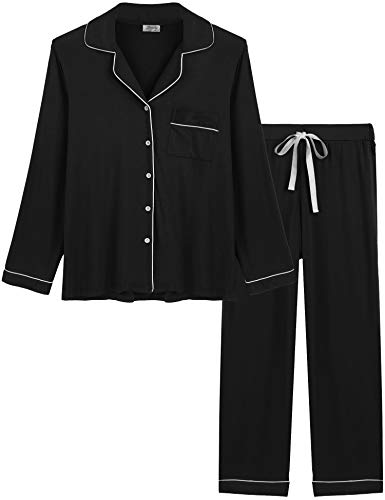 Joyaria Womens Comfy Pj Sets Button UP Jersey Knit Pajama Pants Set Summer Loungewear (Black, Medium)