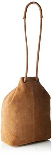 SELECTED FEMME - Sfcamille Suede Bucket Bag Ex, Borsa a spalla Donna marrone (Cognac)