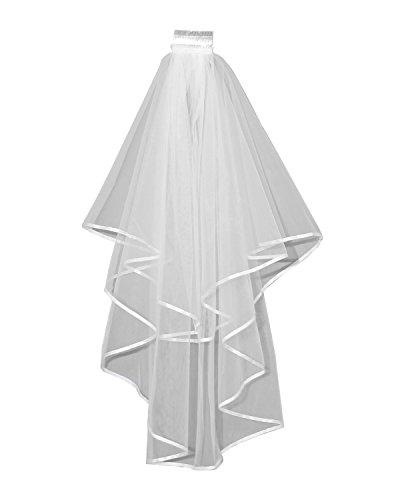 JQLD Womens Short Bridal Veils Ribbon Edge Two Layer Tulle Wedding Veil Comb (150CM125CM, Ivory) - Edge Shorts