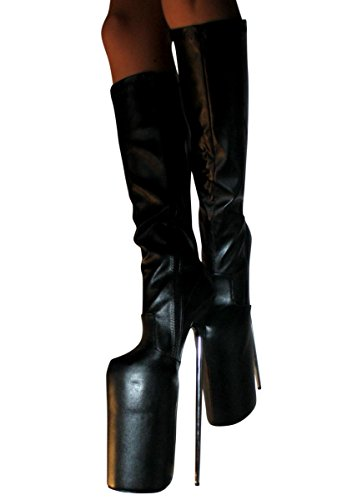 Sintético Material Polipiel de Kniestiefel Botas Kunstleder Plateau para 30cm Extrem High Heels Erogance mujer SAfvUqf