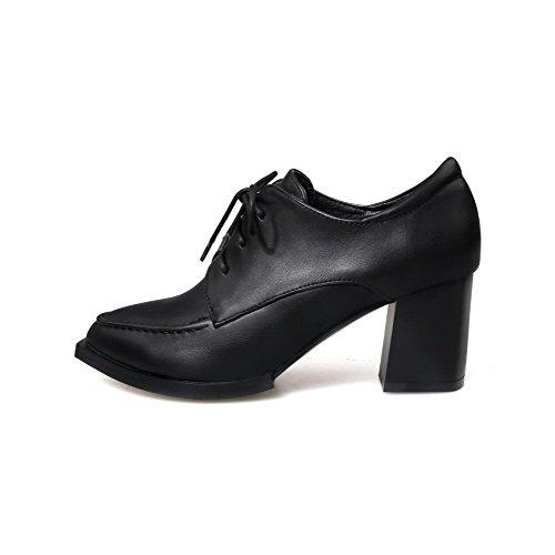 Amoonyfashion Dames Pu Kitten Hakken Puntige Dichte Teen Solide Veterschoenen Pumps-schoenen Zwart