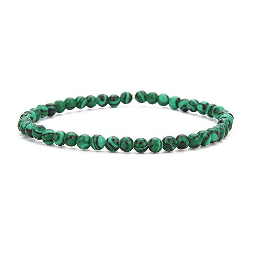 BALIBALI 4MM Mini Gemstone Energy Bracelets Tiny Malachite Bracelet Natural Stone Statement Bracelet Charm Beaded Couples ()