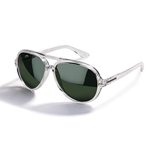 Womens Retro Polarized Sunglasses, Mirrored Lens Fashion Goggle Eyewear(Green Lens/Transparent ()