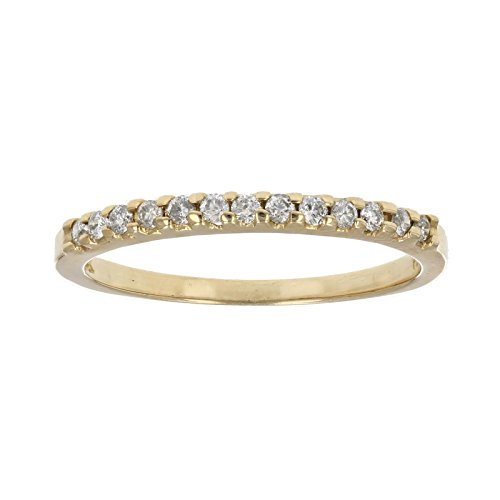 Pave Prong (1/5 ctw Pave Diamond Wedding Band in 14k Yellow Gold in Size 7)