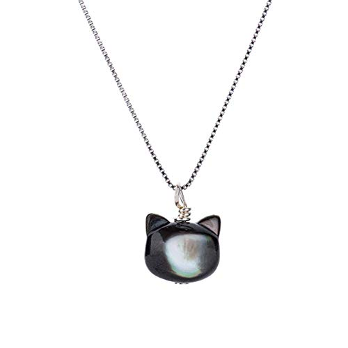 (ISAACSONG.DESIGN Sterling Silver Rose Gold Cat Moon Charms Pendant Necklace for Women (Moonstone Joyful Cat) )