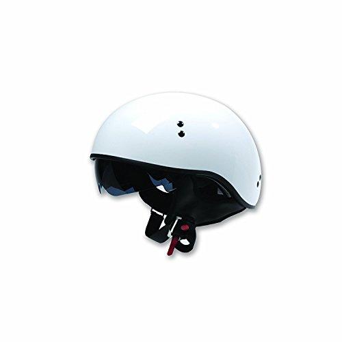 TORC  unisex-adult half-size-helmet-style T55 SpecOp Motorcycle Helmet with Dropdown Sun Visor (Solid Color ) (Gloss White,Medium) (Half White Helmet)