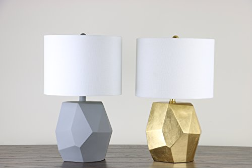 "Modern Table Lamp With White Shade - Textured Fabric - ""Rock\"" Style Resin-Coated Base with Concrete Finish - 12\"" Diameter, 19\"" High - Decorative Rocher by Virtue Home"