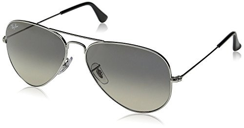 New Ray Ban Aviator RB3025 003/32 Silver/ Crystal Grey Gradient 55mm Sunglasses (55mm Ray Ban Aviators)
