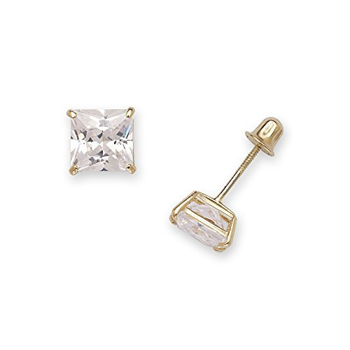 14k Yellow Gold Solitaire Princess Square Cubic Zirconia CZ Stud Screw-back Earrings (2mm-7mm) (Jewelryweb Sterling Silver Square)
