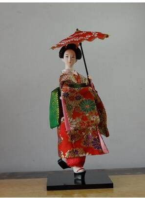 ZAMTAC 24 Types 30cm Oriental Japanese Silk furnishings Kimono Kabuki Geisha Doll Birthday/Xmas Hinamatsuri Girl's Day Gift - (Color: Chocolate, Size: 30cm)
