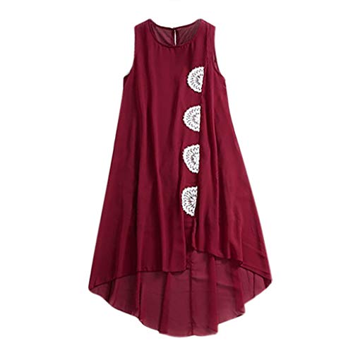 - LUCA Womens Round Neck Tank Tops Sleeveless Appliques Irregular Hem Pullover Vest Shirts Long Tunic Tees(Wine,L)
