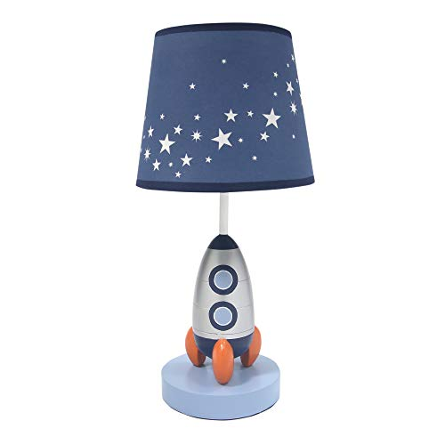 Lambs & Ivy Milky Way Blue/Silver Rocket Ship Nursery Lamp with Shade & Bulb from Lambs & Ivy