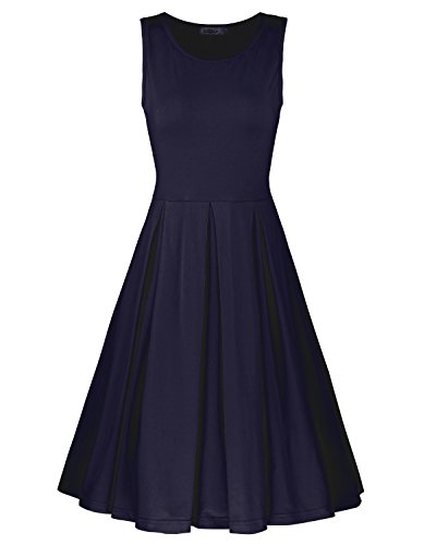 STYLEWORD Women's Sleeveless Casual Cotton Flare - Flare Dress Sleeveless