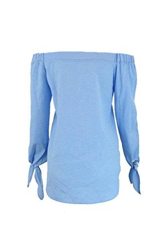 longues Bleu chemises page l'paule coton manches femme blanc Simplee est chemisier de de la la haut Apparel 8qnUAna0