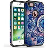 iPhone 7 Plus case, iPhone 6/6S Plus Case, Kaesar [Slim Fit] [Shock Absorption] Hybrid Dual Layer Shockproof Hard Cover Graphic Fashion Colorful Silicone Skin Case for Apple iPhone 7 Plus - Mandala