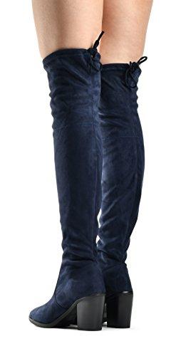 Baffi Donna Haley Sopra Il Ginocchio Tira Su Stivale - Coulisse Posteriore Comfort Blocco Tacco Grosso A Punta Tonda In Pelle Scamosciata Blu Scuro