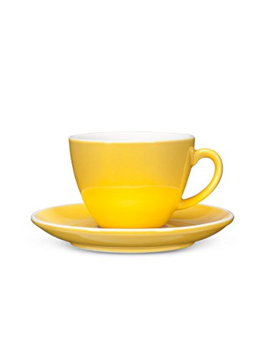Abbott Collection Avenue Diner Look Porcelain Cappuccino Cup w/ Saucer, Yellow