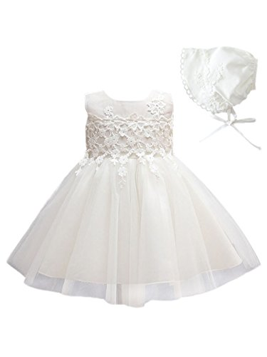 Happy Cherry Toddler Girl's Petal Baptism Dress with Bonnet Christening Dresses Gown White 3M