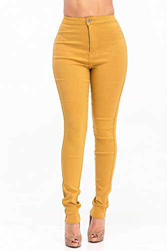 High Rise Waisted Ladies Women Multi Color Stretch Skinny Jeans Pants Black Olive Burgundy Mustard Sex  Xl  Gold