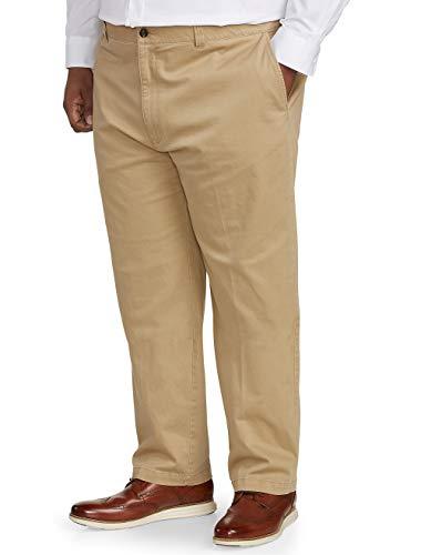 (Amazon Essentials Men's Big & Tall Relaxed-fit Casual Stretch Khaki Pant fit by DXL, Dark, 60W x 30L)