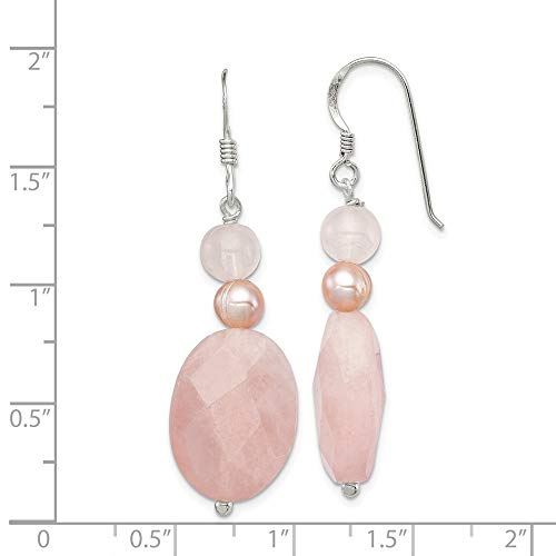 925 Sterling Silver Rose Quartz Pink Freshwater Cultured Pearl Drop Dangle Chandelier Earrings Fine Jewelry Gifts For Women For Her