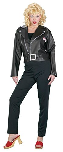 Funworld Womens Grease Cool Sandy Pleather Fancy Dress Halloween Themed Costume, S (6-8) (Grease Female Characters)