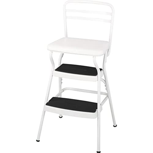 Cosco White Retro Counter Chair/Step Stool With Lift Up Seat