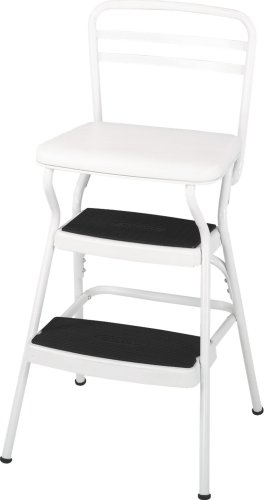 (Cosco White Retro Counter Chair / Step Stool with Lift-up Seat)
