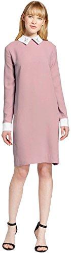 Masked Brand Victoria Beckham Women's Shift Dress With Bunny Collar (Large, Blush)
