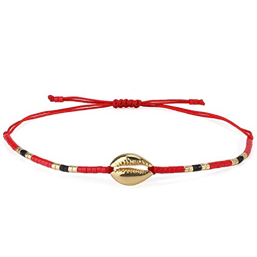 - C·QUAN CHI Braided Woven Friendship Bracelets Women Girls String Anklet Handmade Gold Shell Cowry Bracelet Cord Adjustable-Best Friends Bracelets