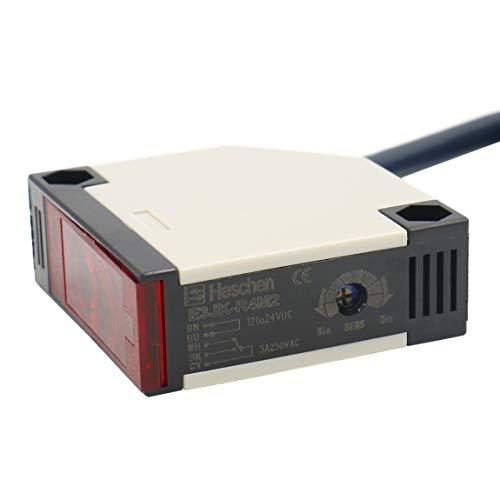 Heschen interruptor fotoelectrico E3JK-R4M2 DC 12-24V retroalimentacion tipo reflexion distancia de deteccion 4m con panel reflector