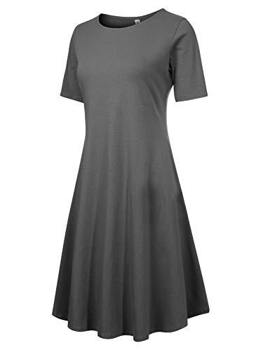Design by Olivia Women's Classic Short Sleeve Round Hem Swing Flared Tunic Dress with Side Pockets,Idrw037 ()