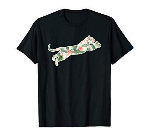 Cougar Flower Girl Print Floral Puma Hawaiian Women Gift T-Shirt