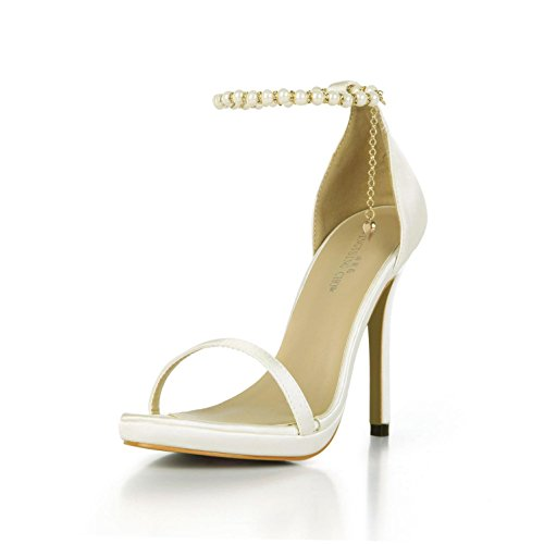 Best 4U® Sandalias de verano de las mujeres de imitación de seda bombas básicas cómodas cadena de los granos 12CM zapatos de tacón alto suela de goma de color sólido , Beige , EU36