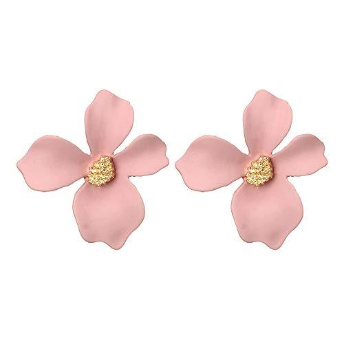 - Women Girls Cute Chic Flower Stud Earrings Boho Statement Earrings with Gold Flower Bud Jewelry (Pink)