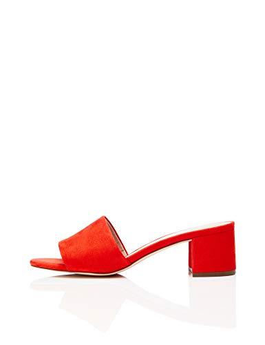 Amazon Brand - find. Women's Block Heel Mule Open-Toe Sandals, Orange Hot Coral, US 7.5