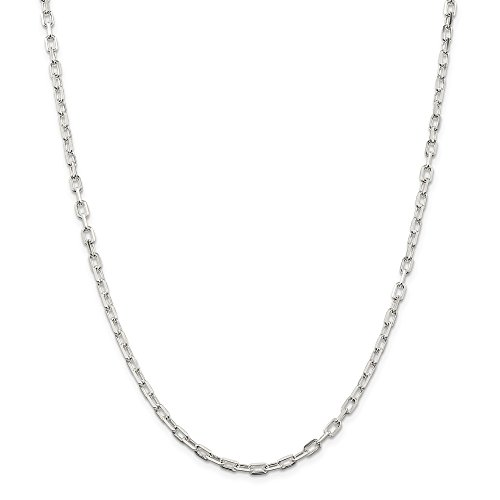 Solid 925 Sterling Silver 3.5mm Fancy Diamond-Cut Open Link Cable Chain Necklace 20