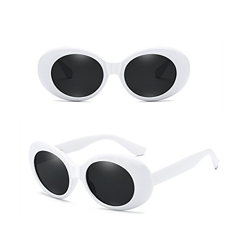 6aee78f6069e Clout Glasses White Oval Goggles Sunglasses with Retro Bold Mod Thick  Framed Round Lens 51 mm