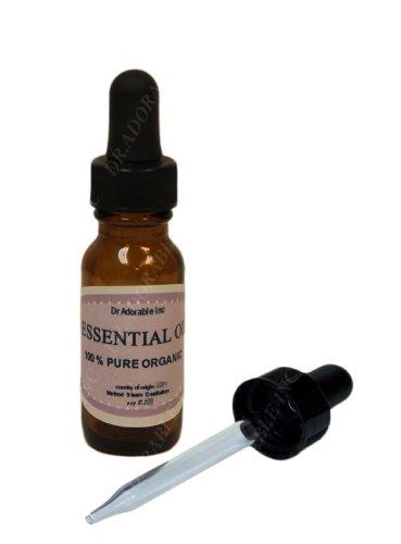 Huile essentielle de melissa par Dr.Adorable 100 % Pure biologique 0,6 Oz/18 Ml avec compte-gouttes en verre