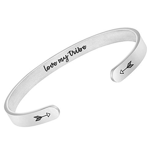 BGAFLOVE Love My Tribe Inspirational Bracelets for Women & Men, Stainless Steel Adjustable Bangle Bracelets