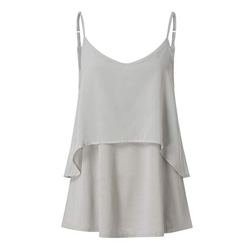 2019 Women Sexy V Neck Sleeveless Camis Summer Tank Tops Patchwork Casual Blouses (Gray, S) by Tanlo (Image #7)