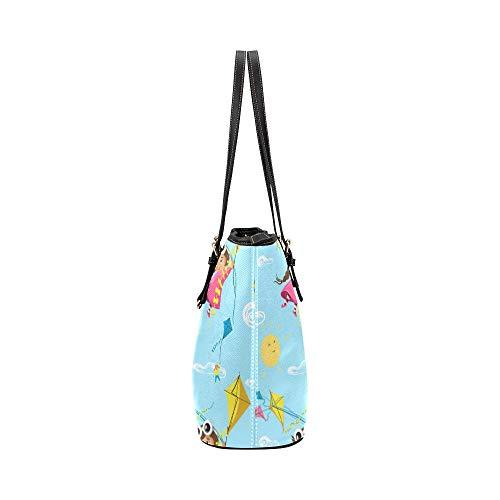 Handväskor för kvinnor tecknad söt vacker flygande kite läder handväskor väska orsaksala handväskor dragkedja axel organiserare för dam flickor kvinnor handväska med dragkedja