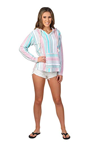 Exist / Southern Spirit Women's Baja Terry Loop V-Neck Hoodie Printed Stripes (Blue Haze, ()
