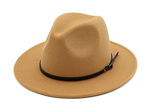 EachEver Women's Woolen Wide Brim Fedora Hat Classic Jazz Cap with Belt Buckle - Tan Camel Wool