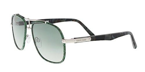 Roberto Cavalli RC1043 16P CETONA Green Square Sunglasses for Womens (Cavalli Silver Roberto Lens)