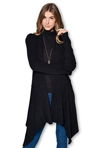ReneeC. Women's Open Front Rib Knit Classic Asymmetric Long Cardigan (Large, Black 2)