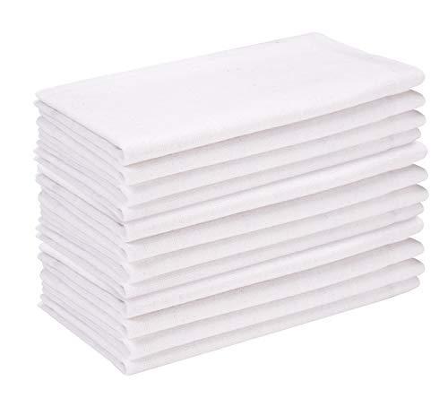 Cotton Dinner Napkin  18x18 inch White,Everyday Napkins, Cotton Napkins, Wedding Napkins, Cocktails Napkins, Tailored with Mitered Corners & Generous Hem, Easy care